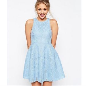 ASOS Light Blue Lace Mesh Mini Dress Exposed Zip